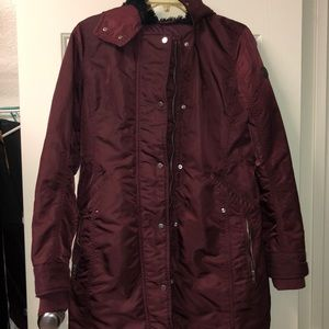 Maroon Abercrombie Small Long Winter Coat